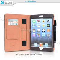 Free stylus pen with strong hand strap for ipad mini 3 leather case,wallet case for ipadmini 3