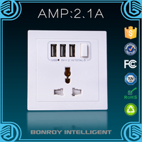 2016 new products electrical wall multiple plug socket with three usb ports