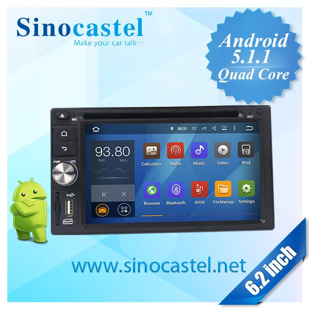 6.2inch 2DIN Android 5.1.1 Universal Car DVD Stereo audio radio auto gps navigation system with quad core,wifi, iPod, 16G flash