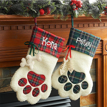 Wholesale Monogram Plaid Dog Paw Christmas Stocking