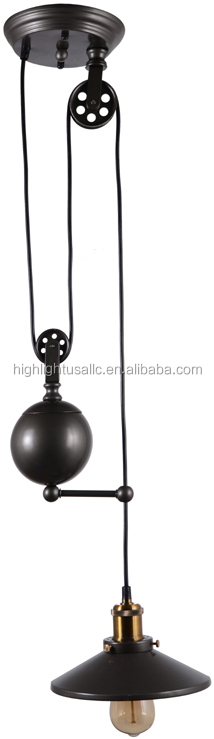 Single light adjustable edison vintage industrial pulley pendant lamp light