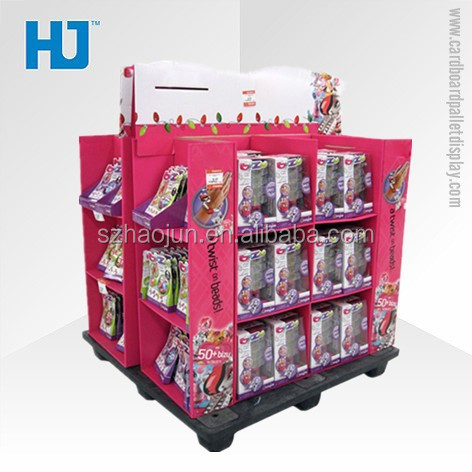 Four sides cardboard promotional display shelf for daily necessities, pop floor stand display for playmobile/snacks