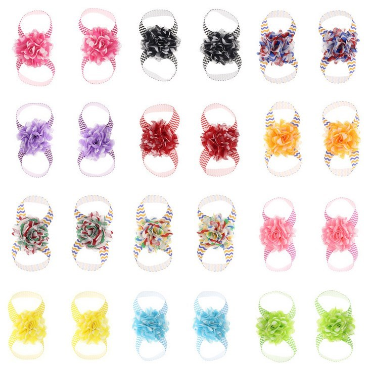 13 colors New Fashion Hot children Infant Baby Toddler girls fringed flower footband foot-flower 2pcs set Foot Piece Accessories