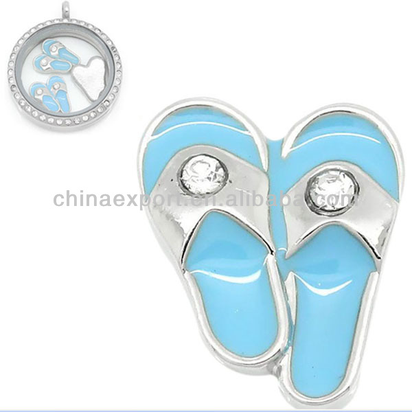 New Lady Fashion Jewelry Rhinestone Slipper Enamel Blue Glass Floating Memory Locket Charms