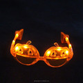 Cheap plastic multi color flashing pumpkin shaped led party sunglasses, 2016 halloween LED glasses