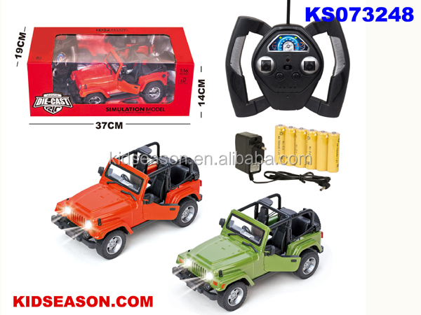 KIDSEASON 1:16 SCALE DIE-CAST RC OPEN JEEP TOYS WITH LIGHT - THE DOOR CAN OPEN