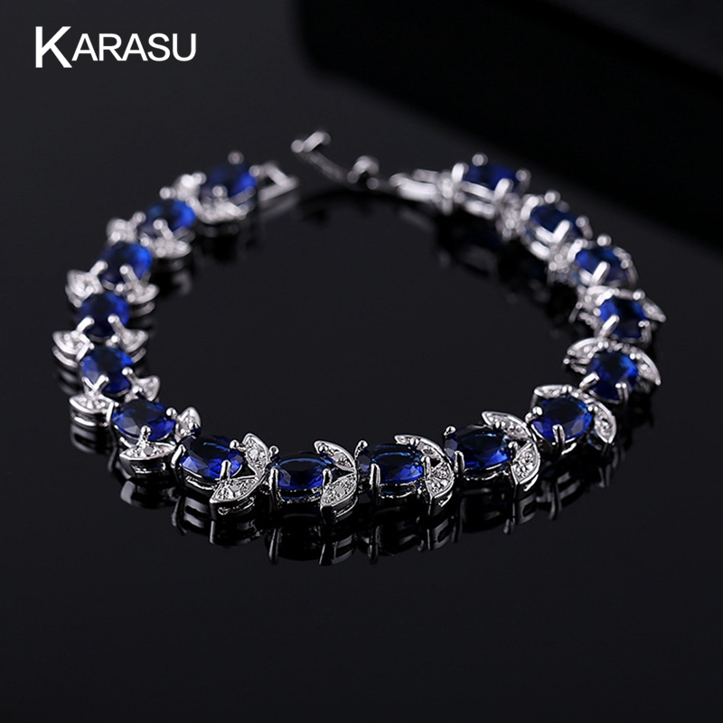 Free Shipping White Gold Plated Royal Blue Stone Cubic Zircon Diamond Women Bracelets & Bangles Fine Jewelry KB0037