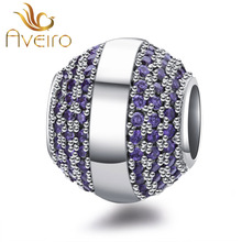 925 sterling silver pave purple CZ charms good luck beads for bracelet charms jewellery making