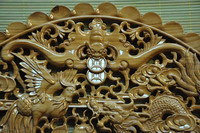 handmade peach wood carving dragon and phoenix pendant for wall for home decor /gift