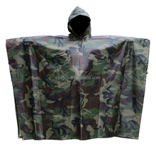 Nylon Material PVC Coating Military Raincoat Ponchos With Hoodies