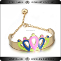 Daihe Custom Stainless steel open enamel bangle with charm