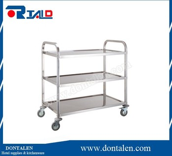 Commercial 3 Tier Stainless Steel Serving Cart With Castors / Handle