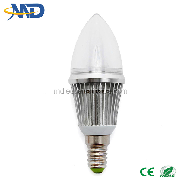 3w led candle light E14 90-277V 3 years warranty dimmable & no diammble plastic led candle