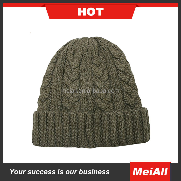 Men Winter Wool Crochet Fold-up Beanie Hat /Baggy Ski knitted Cap