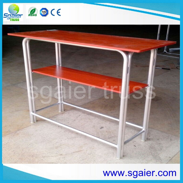 Rectangular double Layers Bar table with wooden baord