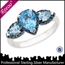 Blue eye Plating Black Gold two stone ring designs For Women