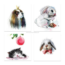 4 Pieces HD Animal Canvas Painting Drowsy Kitten Cute Rabit Cavalier King Charles Spaniel Wall <strong>Picture</strong> for Living RoomVA170810-6