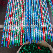 HQ0158 blue grey red yellow color PP broom with iron handle wood wiper pine pole