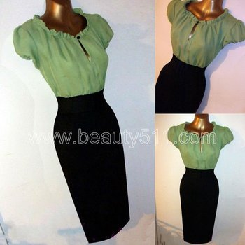 Vintage 1940s 50s Repro Gypsy Wiggle Rockabilly Pencil Pinup Dress GP002