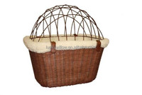SOLVIT Tagalong Wicker Pet Bicycle Basket with Wire Cover Bracket