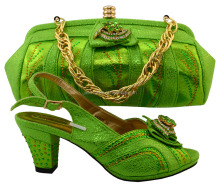 New designs lemon green custom italian shoes with matching bags for african party size38 to 43 Apr-19-2017