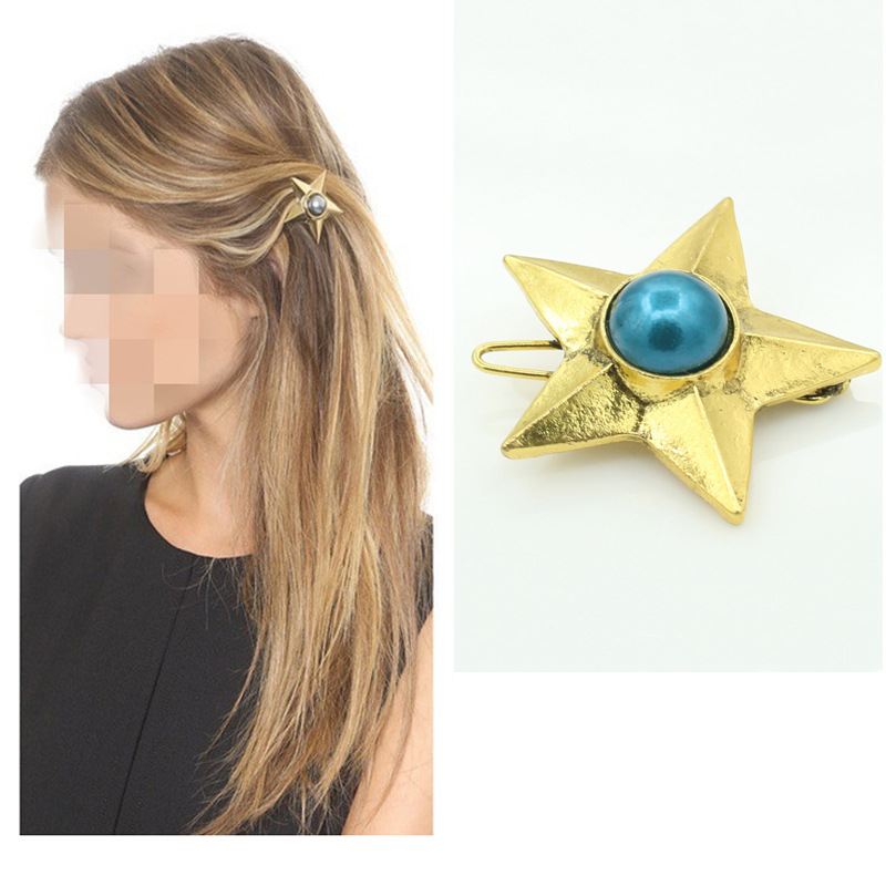 Hot Sale Star Pearl Barrettes Chunky Pentagram Hairwear Antique Gold Big Blue Shiny Pearl Inlayed,Hair Clips for Girls Comiya