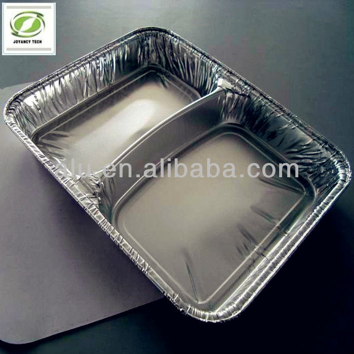 rectangle two compartment aluminium foil container for food packing and storage