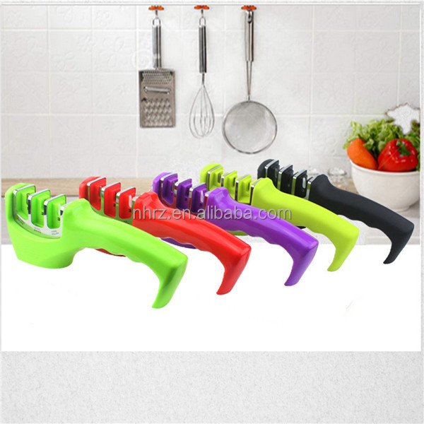 Home Utensils Gadgets Dining Cutlery & Knife Accessories Kitchen Soft-Grip Handle 3 Stage Professional Knife Sharpener