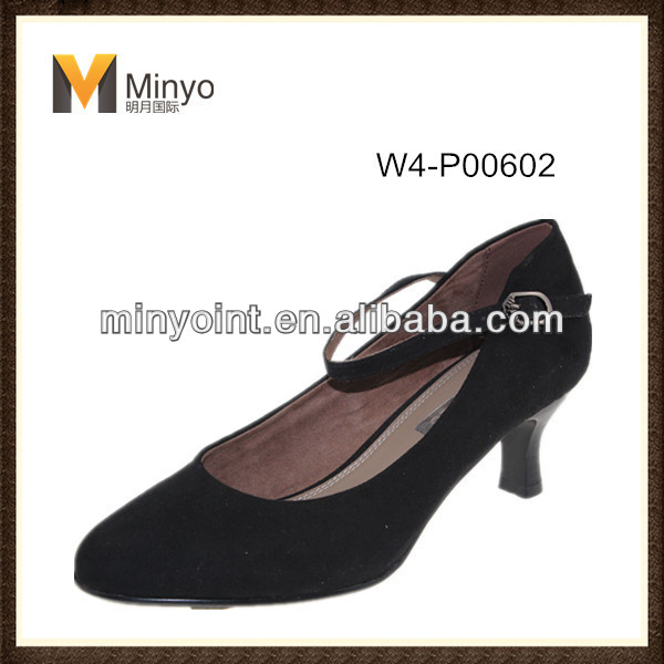 Minyo Black Office Lady Shoes Work Shoe Low Heel Comfort