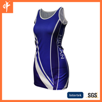 ladies blouse royal blue netball dress,with decorative,new fashionable sublimation netball skirt,sublimation blouse in 2016.