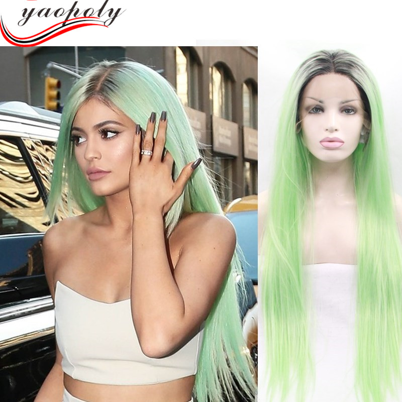 hot sale silky straight ombre mint green synthetic lace front wig / synthetic wigs for white women