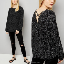 Spring new fashion design round neck black women blouse print cross strap long sleeve woven blouse