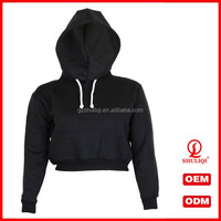 Womens Plain Crop Top Hoodies 65% Cotton 35% Polyester Fitted Hoodies With Ribbed Cuffs