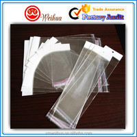 Various sizes Clear OPP plastic packing bags with header and self adhesive tape closure