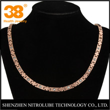 Wholesale new arrival rose gold 3000 gauss magnetic bio energy jewelry titanium necklace for health