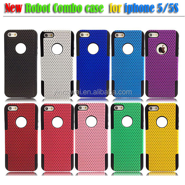 Mesh Hybrid Hard Soft Silicone Combo Color Skin Case Cover For Apple iPhone 5 5S