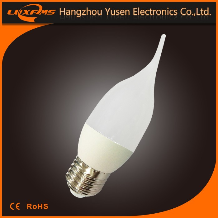 5w 6w 400lm 470lm warm white smd CE high power high lumen tailed led candle light C37 5w led bulb