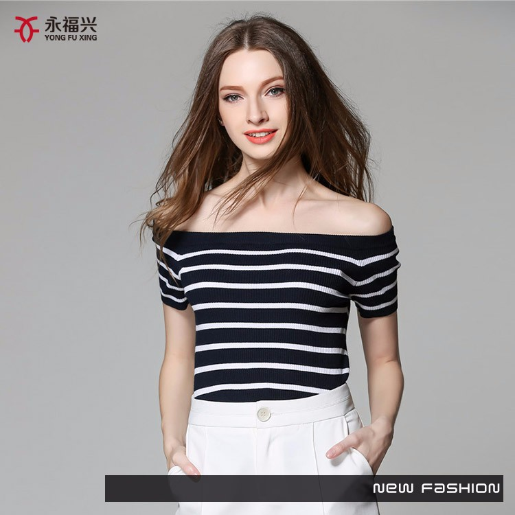 2017 lady summer new fashion boat neck stripe sexy pullover