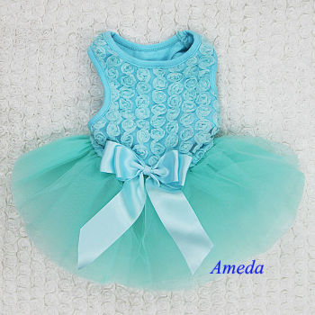 Aqua Blue Rosettes Elegant Rose Wedding Tutu Small Dog Clothes Party Dress XS-L