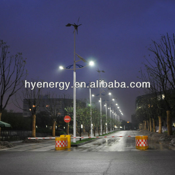 solar system with 600W wind turbine for street lighting