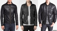 Men's Hooded Black Sheep Skin Genuine Leather Jacket-RS158
