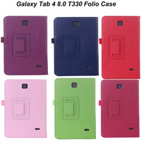 Folio Leather Case for Samsung Galaxy Tab 4 T330 Shockproof 8 inch Tablet Cases Stand