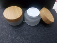 Unique cosmetic packaging glass jar with bamboo lids
