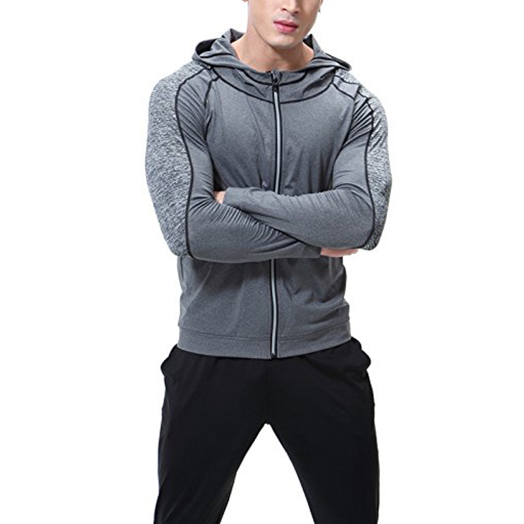 Moisture wicking polyester hoodies sweatshirts side zipper athletic authentic cool sportswear custom your logo