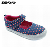 SEAVO SS18 cute wholesale custom made navy printed hook & loop vulcanized canvas shoes for girls
