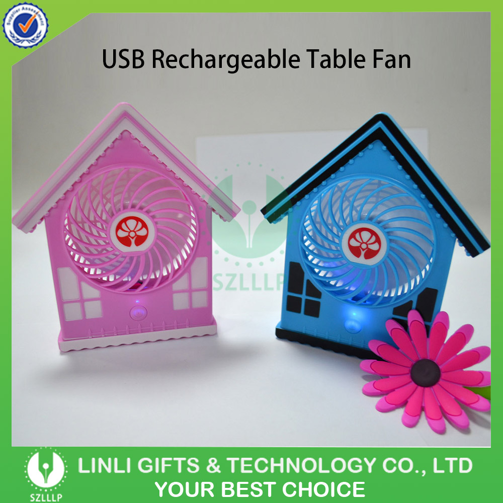 2017 Newest Design House Shape USB rechargeable Potrable Mini Electric Table Fan