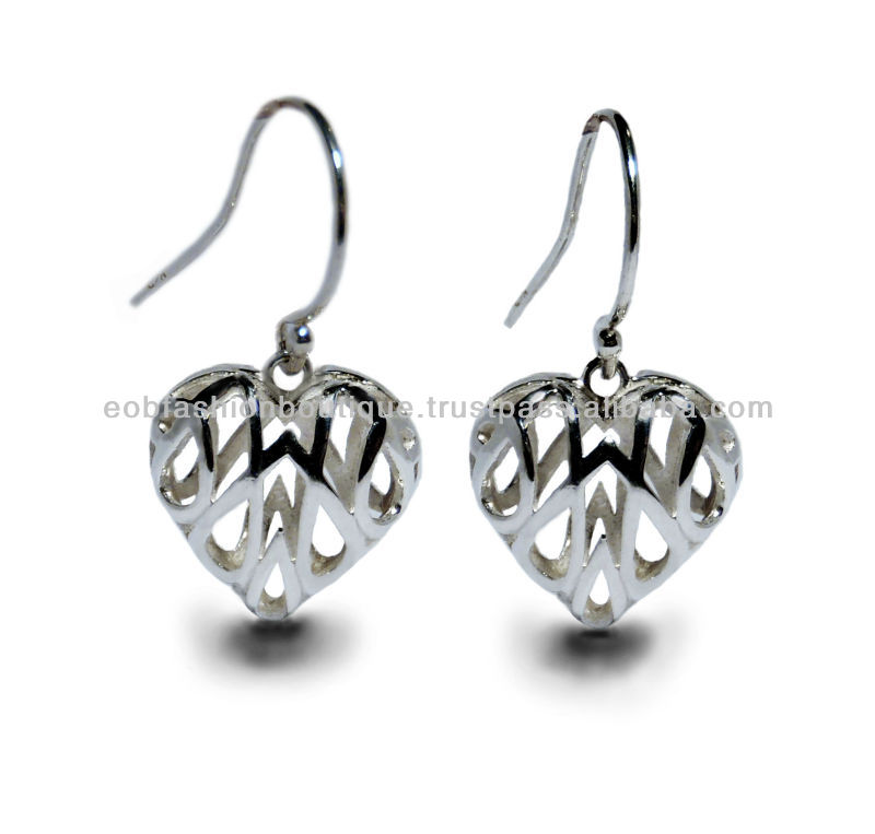 Heart Shape Sterling Silver 925 Filligree Hook Earrings