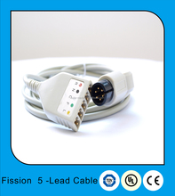 Standard 6 pin fission 5-Lead ECG trunk cable set ,LL type,IEC&AHA