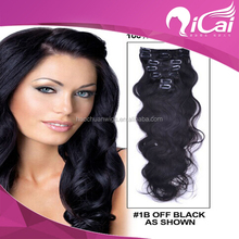 Hair factory wholesale top quality unprocessed full head cheap clip in hair extensions