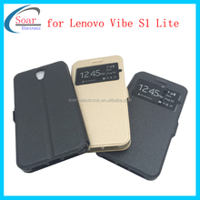 Cheap wholesale window leather case for Lenovo Vibe S1 Lite,mobile phone leaher case for Lenovo Vibe S1 Lite